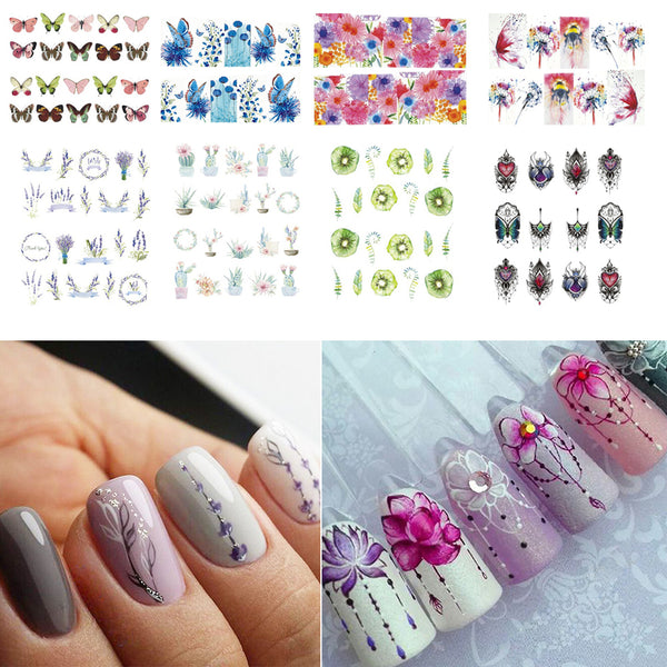 Mixed Flowers Butterfly Design Water Decals Transfer Nail Stickers For Manicure