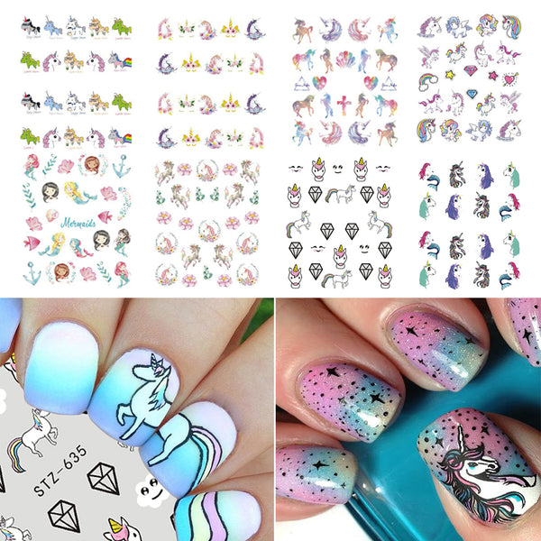 Unicorn Cartoon Patterns Water Decals Transfer Nail Art Stickers For Manicure