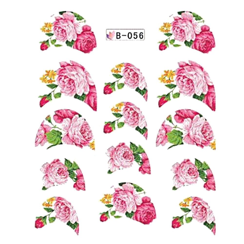 11pcs flower round series water decals transfer france nail art stickers