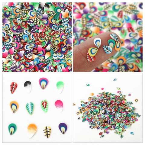 Polymer Clay Fruit & Feather Theme Nail Art Sticker Nail Decoration