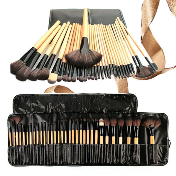 32Pcs Wood Color Foundation Makeup Brush Kit With Bag
