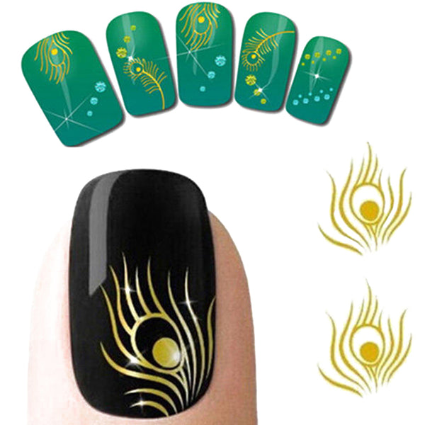 Peacock Feather Gold Plated Nail Art Stickers For Manicure