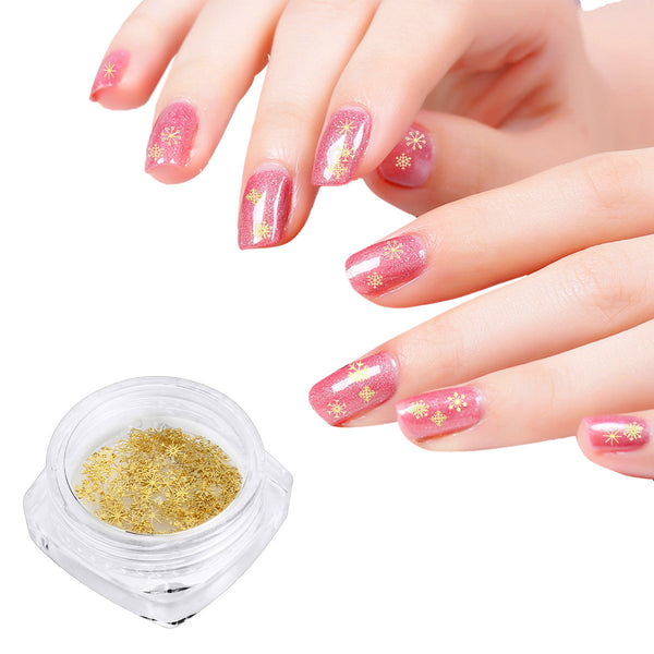 3D Charm Gold Snowflakes Nail Art Sequins For Nail Decoration