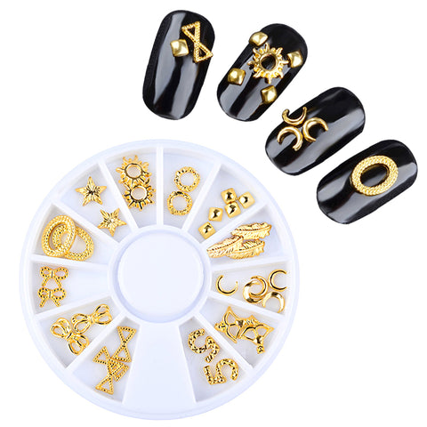 1 Box Gold Metal Hollow Starfish Shell Anchor Triangle Riverts Nail Art Studs Decorations
