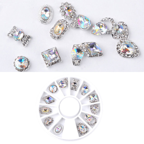 1 Wheel 3D Nail Charm Alloy Rhinestones Flowers Triangle Design Nail Decoration