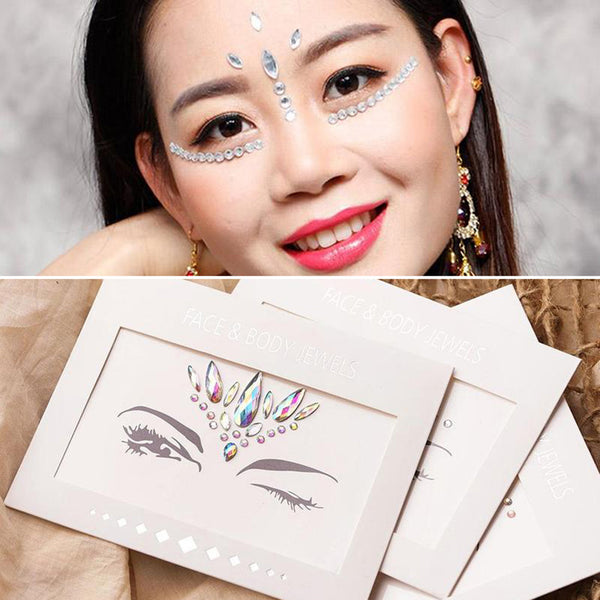 1 Box Face Gems Rhinestone Temporary Tattoo Fashion Face Stickers