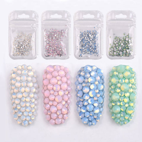 350Pcs Mix Size 3D Rhinestones Flat Bottom Crystals Nail Decorations