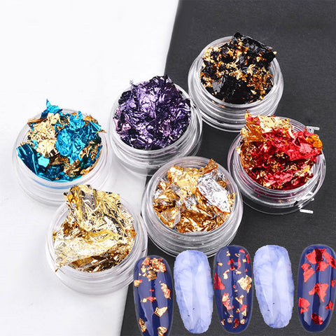 1 Box Gold Silver Aluminum Nail Foil Paper Stickers Nail Decoration