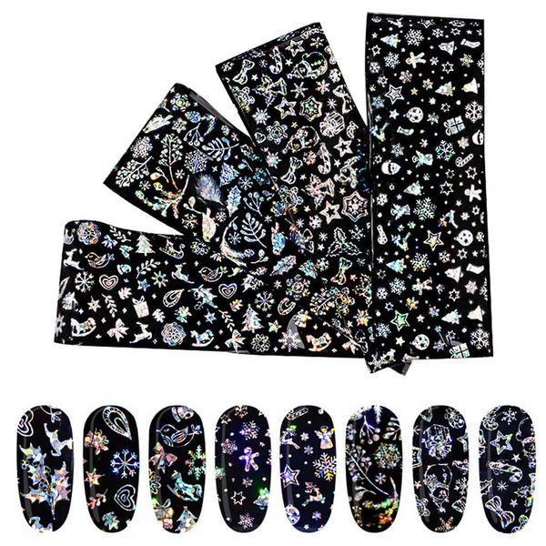 4 Sheets Nail Art Christmas Star Sticker Xmas Snowflake Sticker Nail Foils Tools Nail Decoration