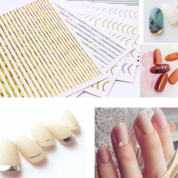 3D Curve Stripe Lines Nails Art Stickers Adhesive Striping Tape For Manicure