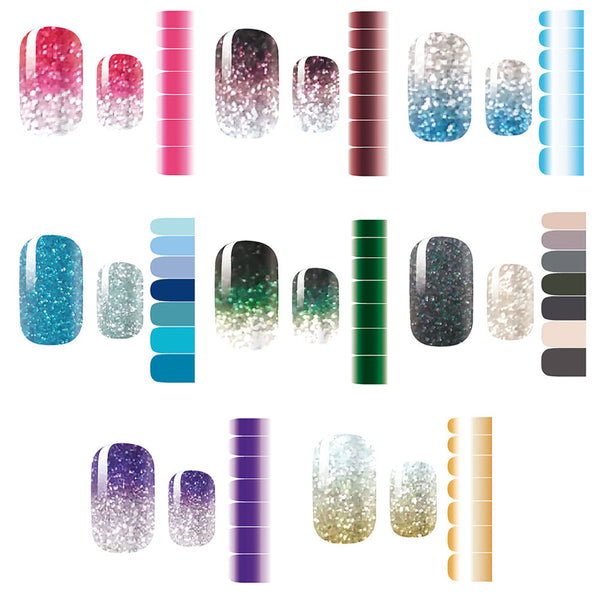 Glitter Powder Gradient Color Self-Adhesive Full Wraps Nail Stickers