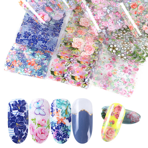 10pcs Mix Rose Flower Transfer Foil Nails Stickers Decal Sliders