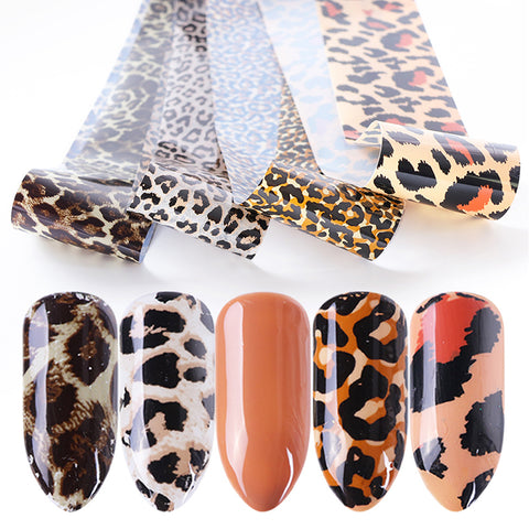 4pcs Leopard Print Stickers On Nails Foils Starry Sky