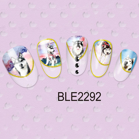 1 Sheet Cute Dog Nail Art Water Transfer Stickers