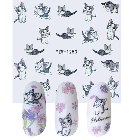 1 Sheet Nail Art Water Transfer Sticker Decals Cute Cats Stickers