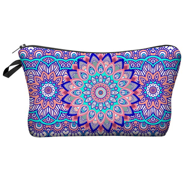 Purple Flower Cosmetics Bag Wash Pouch Makeup Case