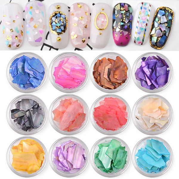 12Pcs 3D Irregular Shell Flakes Set Crushed Stone Thin Slice Nail Art Decoration