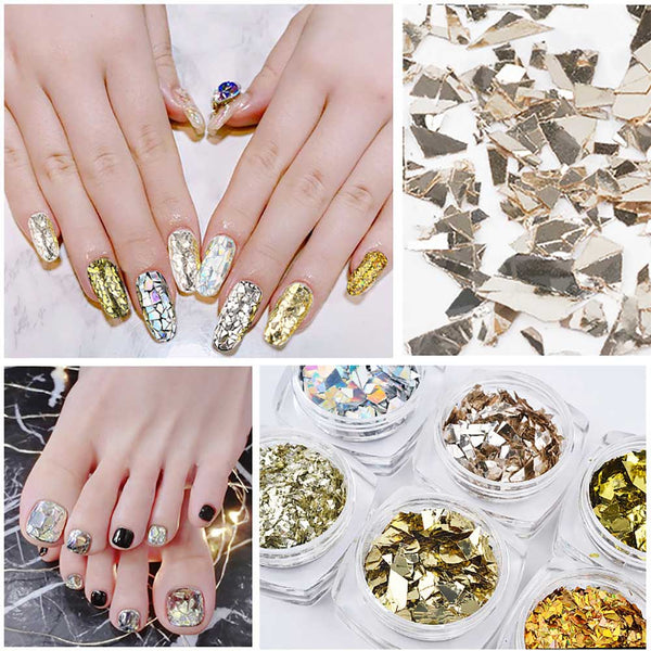 6Pcs Mixed Shape Colorful 3D Ultra-thin Sparkling Nail Sequins Nail Decoration