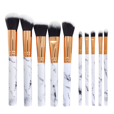 10Pcs Makeup Marble Brushes Set Kits Powder Eyeshadow Foundation Brush