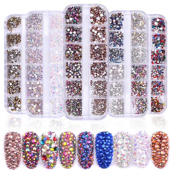 3D Mixed Size Rhinestones Colorful Flat-back Crystal Nail Art Decoration