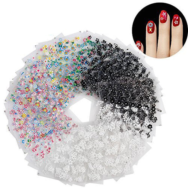 50 Sheets 3D Design Self Adhesive Tip Nail Art Sticker Nail Decoration