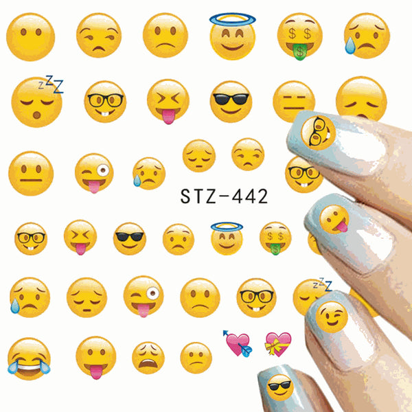 Emoji Nail Decals Water Transfer Nail Art Stickers for Nail Designs
