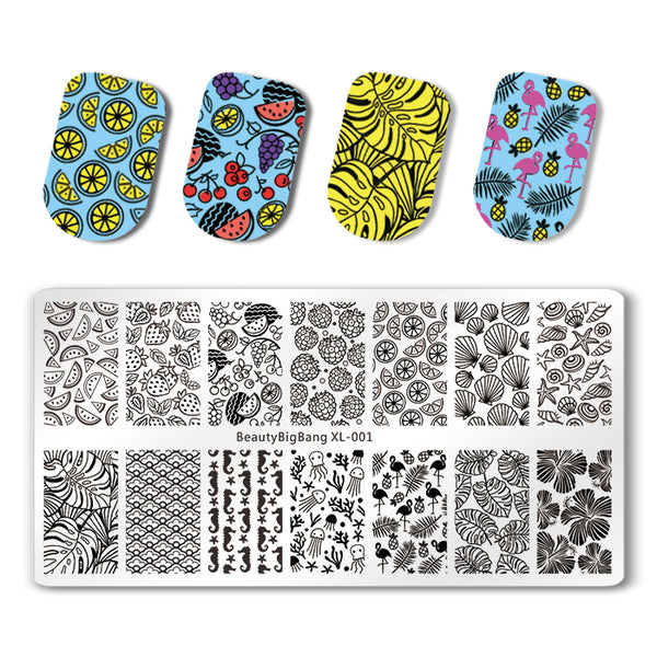 Flamingo Rectangle Nail Stamping Plate Tropical Fruits Leaves Theme Manicure Tool BBBXL-001