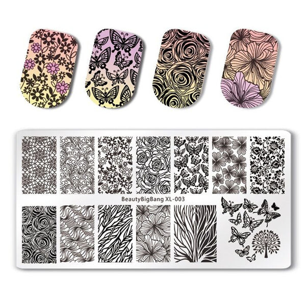 Flower Design Rectangle Nail Stamping Plate Butterfly Floral Theme Manicure Tool BBBXL-003