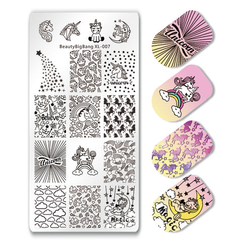 Unicorn Rainbow Magic Rectangle Nail Stamping Plate For Manicure BBBXL-007