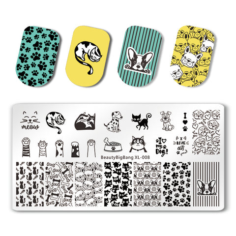 Dog Paws Rectangle Nail Stamping Plate Cute Cat Theme For Manicure BBBXL-008