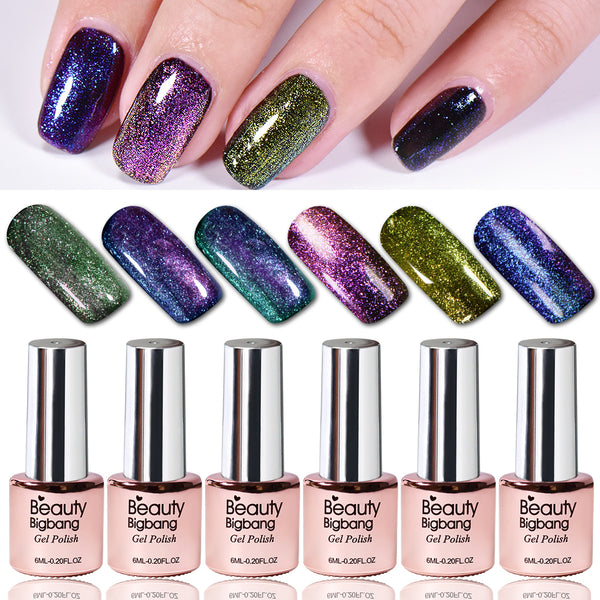 6Pcs Holo Chameleon Glitters Starry Effect Soak Off UV Gel Nail Polish