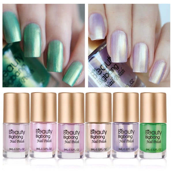 6Pcs Mermaid Shell Shiny Nail Polish Set For Nail Art Manicure