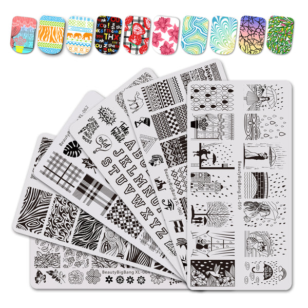6Pcs Rectangle Nail Art Stamping Plates Set Raindrop Pattern For Manicure BBBXL-059/060/061/062/063/064