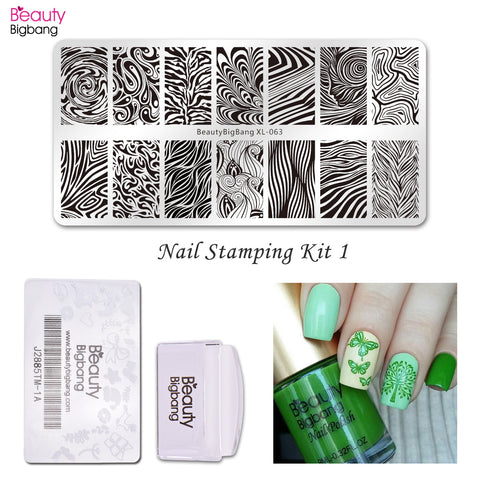 4Pcs/Set Water Marble Stamping Plate With Polish & Stamper For Nail Stamping Starter Kit