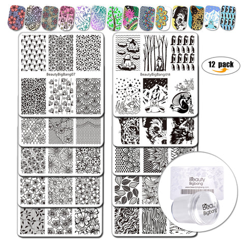 12Pcs Multiple Pattern Nail Stamping Plates Kit With Clear Jelly Stamper For Nail Art Starter