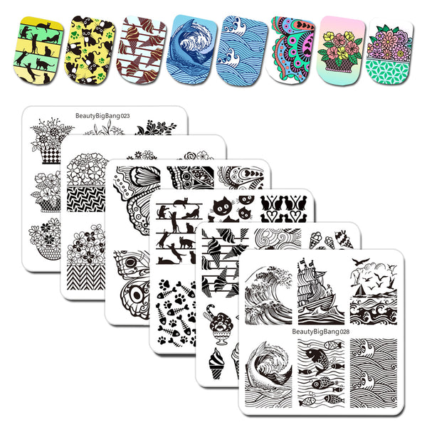 6Pcs Multiple Pattern Square Nail Art Stamping Plates Set BBBS-023/024/025/026/027/028