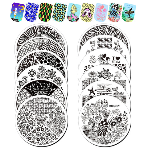 12Pcs Circle Nail Art Stamping Plate Set BBB-011/012/013/014/015/016/017/018/019/020/021/022