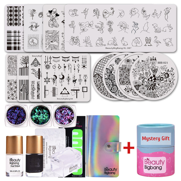 12 Pcs Stamping Plates Nails Sequins & Polish & Stamper &Paint Sticker with Mystery Gift