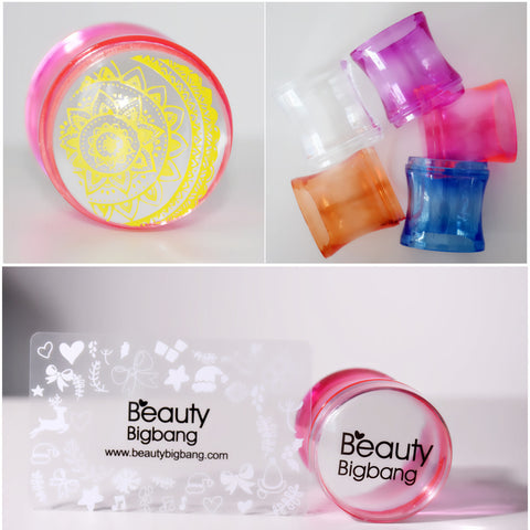 Silicone Head Stamping Clear Jelly Handle Nail Art Stamper & Scraper
