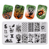 Halloween Bat Rectangle Nail Stamping Plate Ghost Pumpkin Design Nail Art Tool BBBXL-020