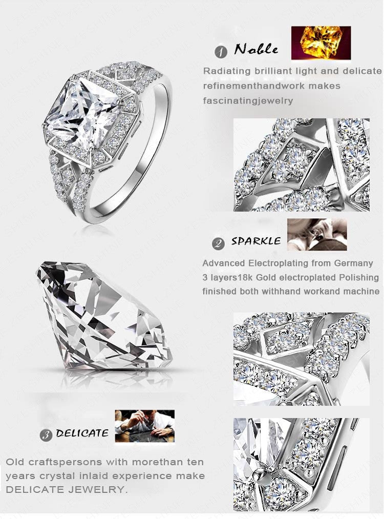 mens platinum zircon crystal for plated black zewraat buy ring with
