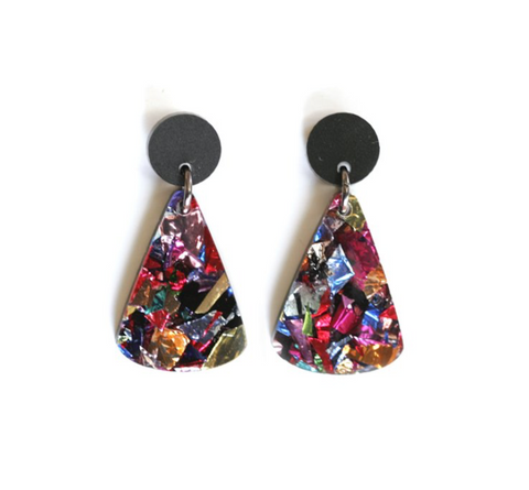 Acrylic Drop Pendant Earrings - Black Confetti