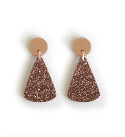 Acrylic Drop Pendant Earrings - Blush Glitter