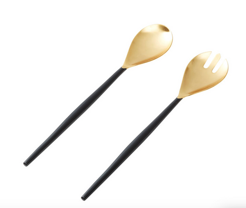 Amalfi Salad Server Set - Gold and Black