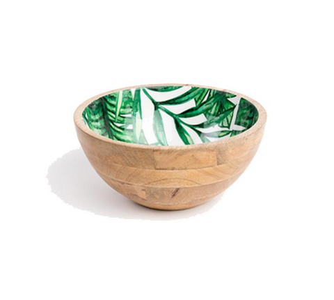 Tropical Patterned Timber Salad Bowl