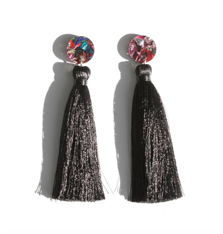 Tassle Drop Earrings - Black Confetti