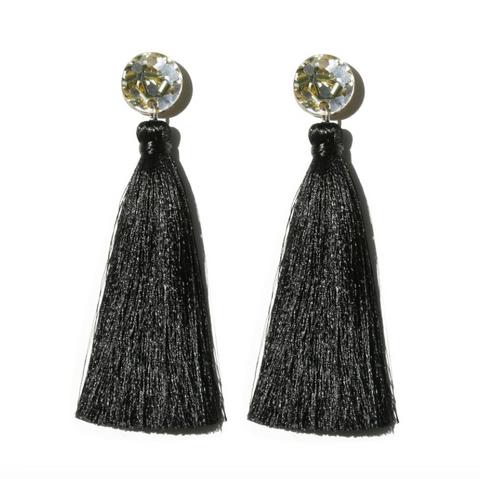 Tassle Drop Earrings - Black Gold