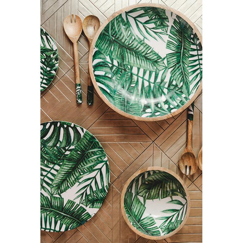 Tropical Patterned Timber Salad Servers