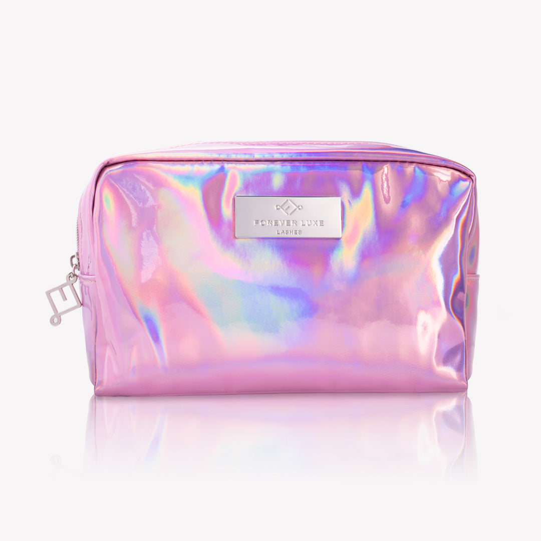 Pink Holographic Makeup Bag