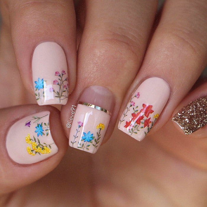 floral nails with SoNailicious stickers 222